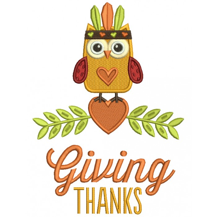 Giving Thanks Cute Owl With Indian Feathers Thanksgiving Filled Machine Embroidery Design Digitized Pattern