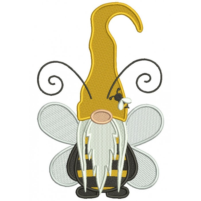 Gnome Bumble Bee With Huge Antennas Filled Machine Embroidery Design Digitized Pattern