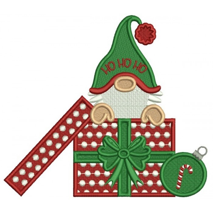 Gnome Sitting Inside a Box With Presents Wearing Santa Hat Christmas Filled Machine Embroidery Design Digitized Pattern