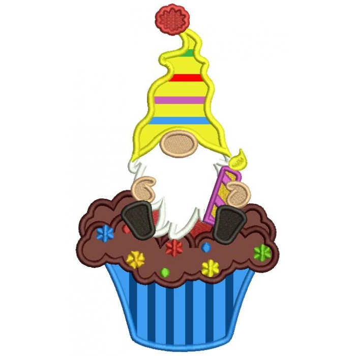 Gnome Sitting On The Cupcake Birthday Applique Machine Embroidery Design Digitized Pattern