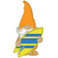 Gnome Surfer Applique Machine Embroidery Digitized Design Pattern