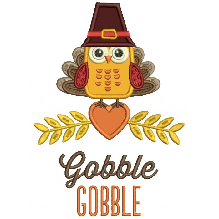 Gobble Gobble Cute Owl With Indian Feathers Thanksgiving Applique Machine Embroidery Design Digitized Pattern