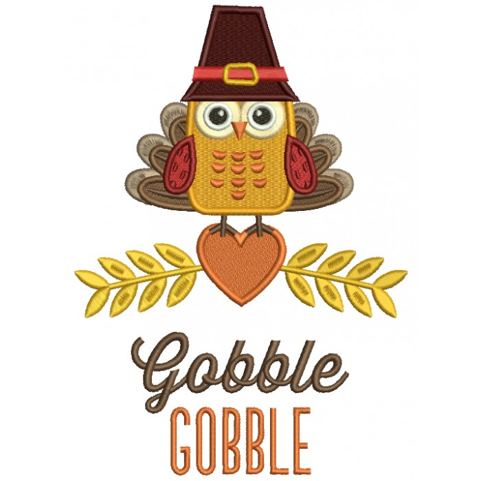 Gobble Gobble Cute Owl With Indian Feathers Thanksgiving Filled Machine Embroidery Design Digitized Pattern