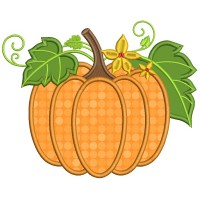 Gorgeous Pumpkin With Leaves Thanksgiving Applique Machine Embroidery Design Digitized Pattern