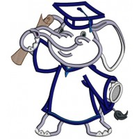 Graduating Elephant Holding Diploma Applique Machine Embroidery Design Digitized Pattern