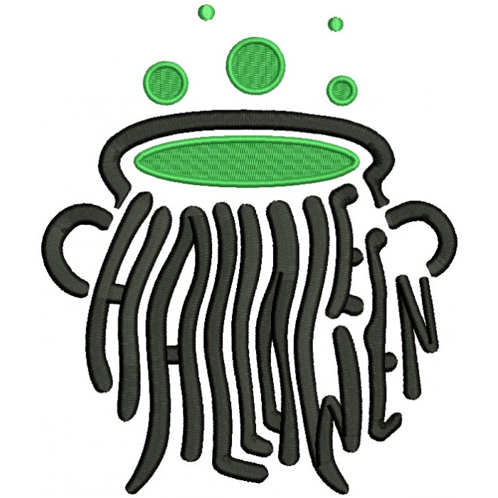 Halloween Cauldron Made With Letters Filled Machine Embroidery Design Digitized Pattern
