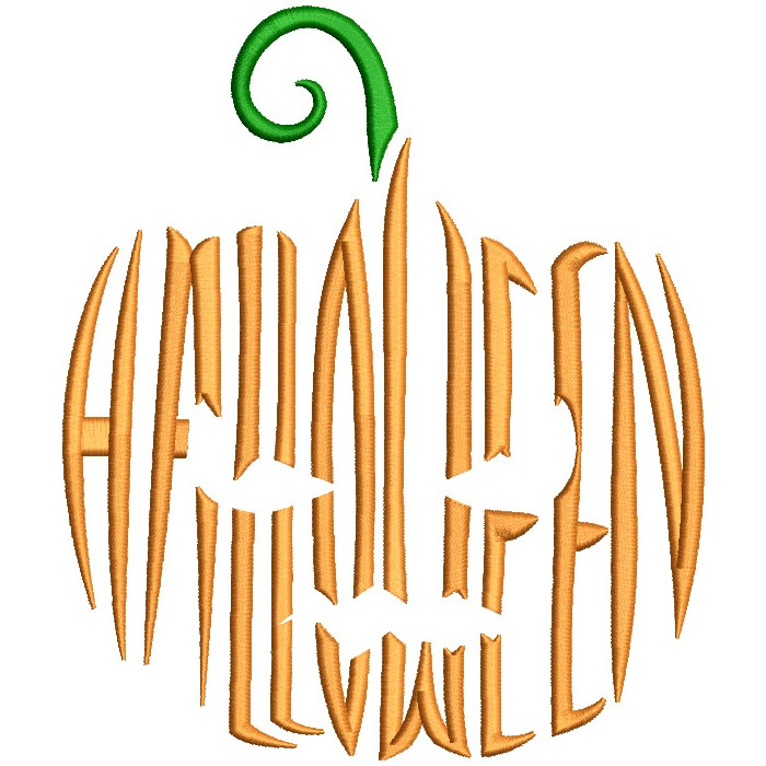 Halloween Pumpkin Made With Letters Filled Machine Embroidery Design Digitized Pattern