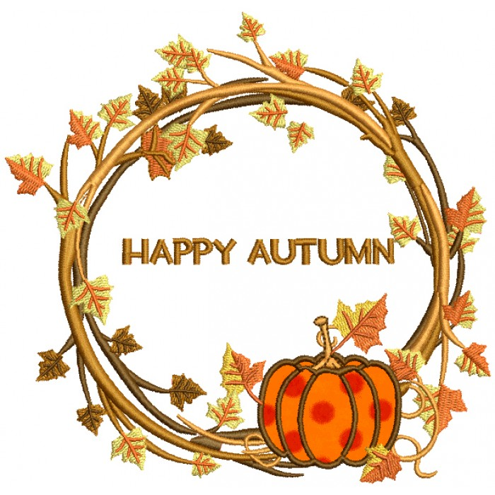 Happy Autumn Decorative Wreath Applique Machine Embroidery