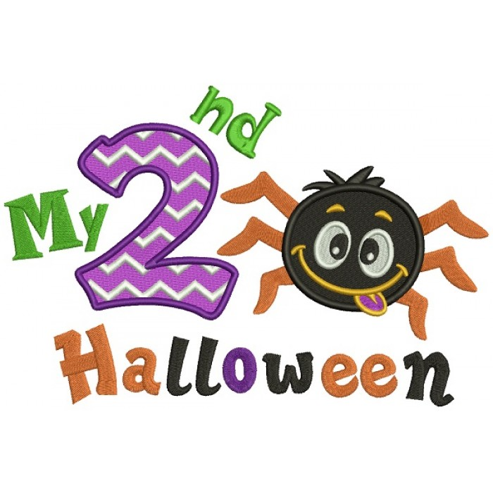 Happy Halloween My 2nd Birthday Cute Spider Filled Machine Embroidery Design Digitized Pattern