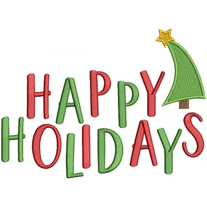 Happy Holidays Christmas Filled Machine Embroidery Design Digitized Pattern