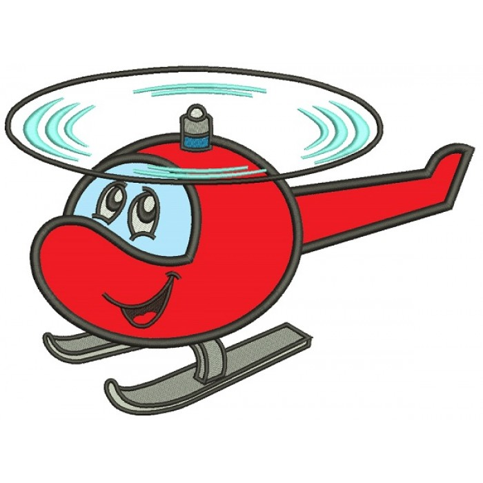 Happy Little Helicopter Applique Machine Embroidery Design Digitized Pattern