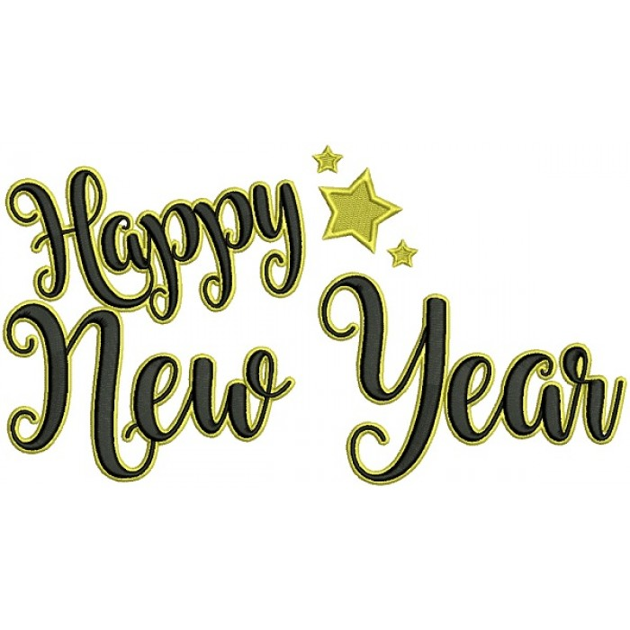 Happy New Year With a Big Star Filled Machine Embroidery Design Digitized Pattern