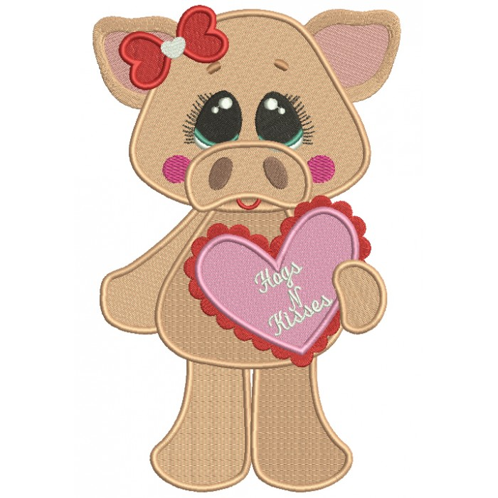 Hogs And Kisses Cute Piggy Holding a Big Heart Filled Machine Embroidery Design Digitized Pattern