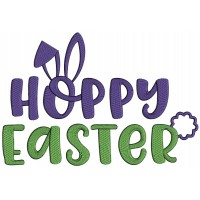 Hoppy Easter Bunny Ears Applique Machine Embroidery Design Digitized Pattern