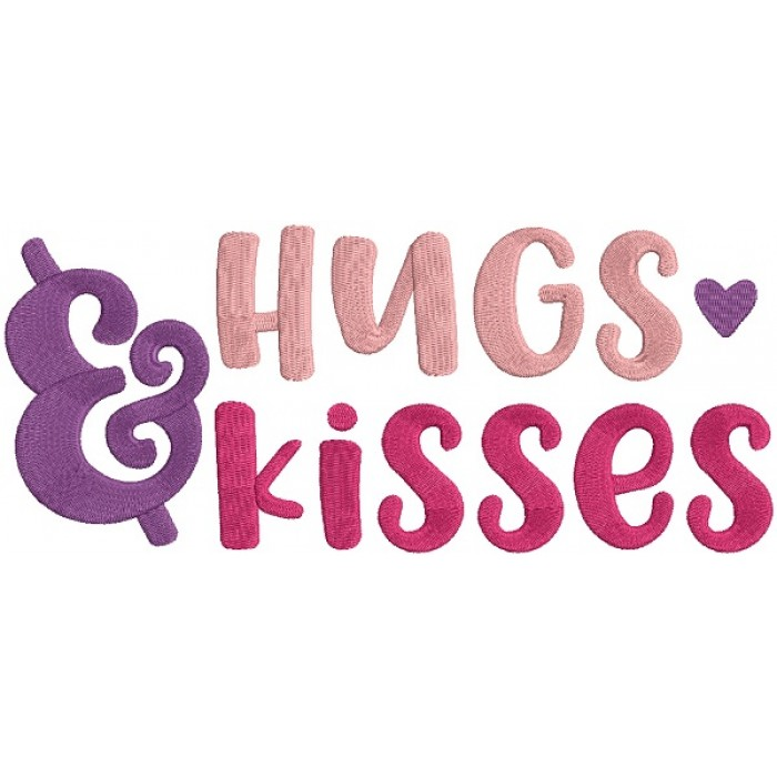 Hugs And Kisses With Heart Filled Machine Embroidery Design Digitized Pattern