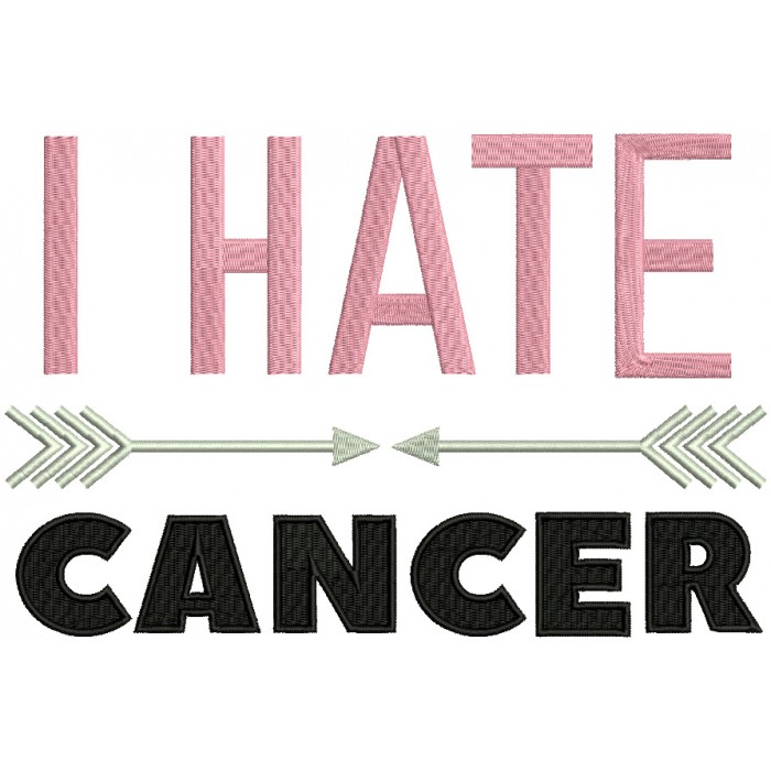 I Hate Cancer Breast Cancer Awareness Filled Machine Embroidery Design Digitized Pattern