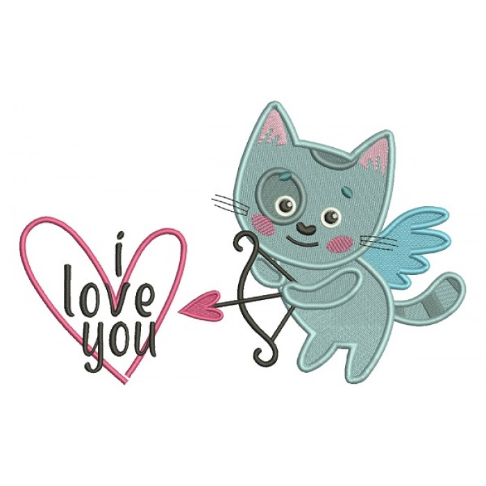 I Love You Little Cat Cupid Holding a Bow Filled Machine Embroidery Design Digitized Pattern