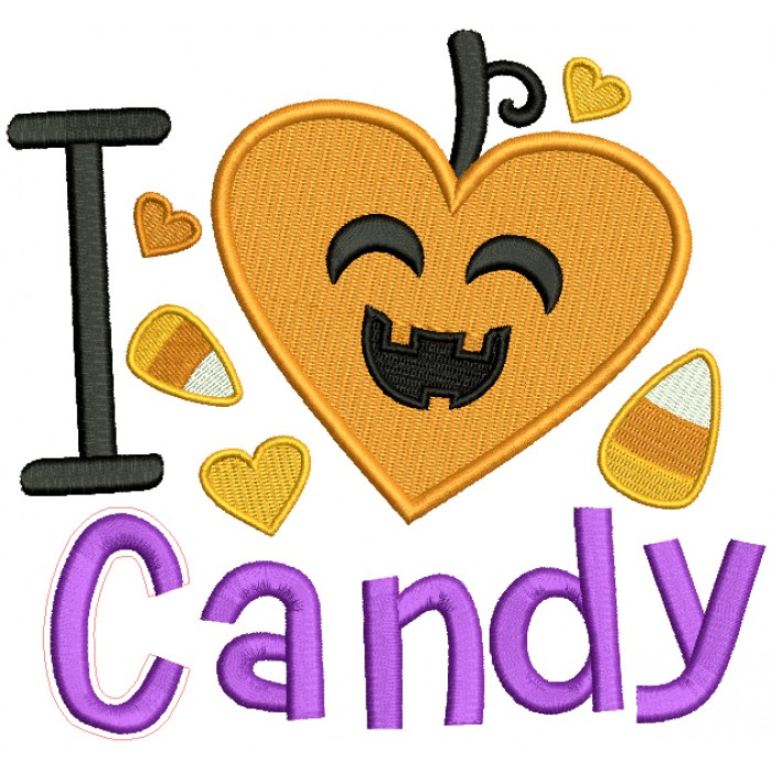 I love Candy Smiling Candy Corn Halloween Filled Machine Embroidery Design Digitized Pattern