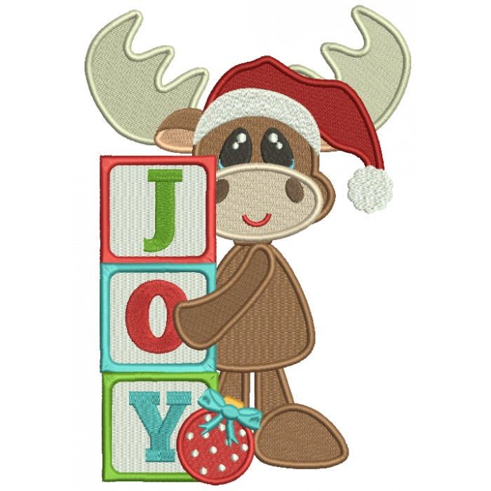 JOY Cute Moose Wearing Santa Hat Christmas Filled Machine Embroidery Design Digitized Pattern