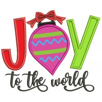 Joy To The World Red Bow Christmas Applique Machine Embroidery Design Digitized Pattern