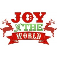 Joy To The World Reindeer Christmas Banner Applique Machine Embroidery Design Digitized Pattern