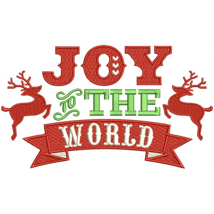 Joy To The World Reindeer Christmas Banner Filled Machine Embroidery Design Digitized Pattern