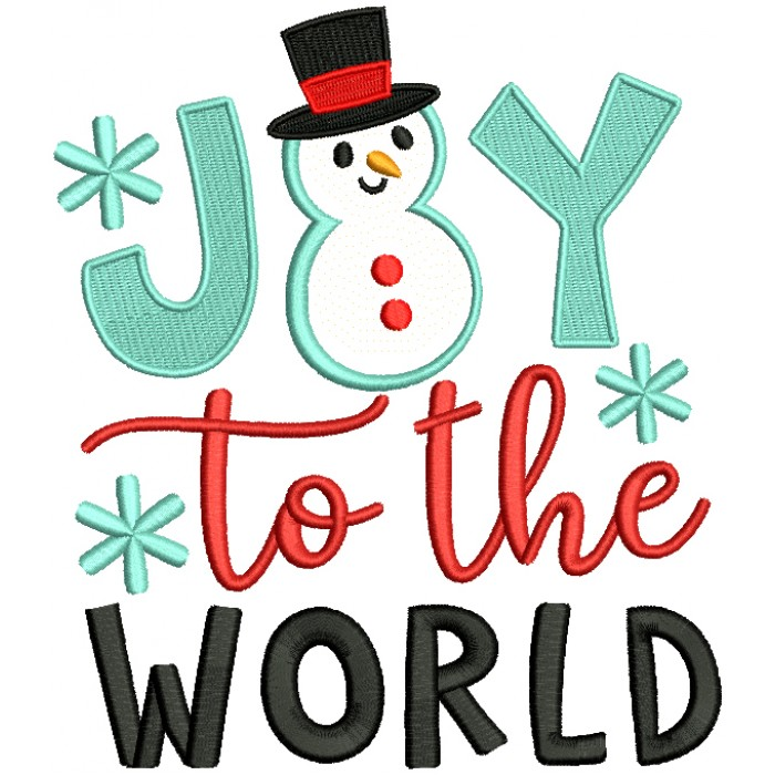 Joy To The World Snowman Christmas Applique Machine Embroidery Design Digitized Pattern