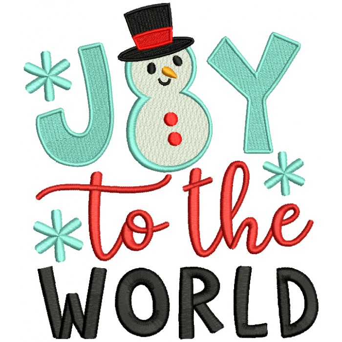 Joy To The World Snowman Christmas Filled Machine Embroidery Design Digitized Pattern