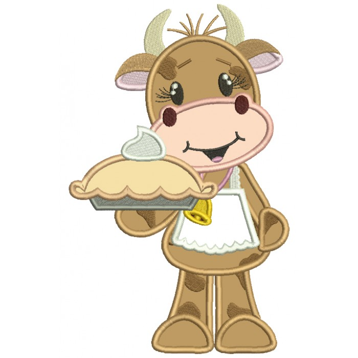 Lady Cow Holding a Pie Cooking Applique Machine Embroidery Design Digitized Pattern