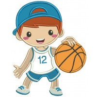 Little Boy Playing Basketball Applique Machine Embroidery Design Digitized Pattern