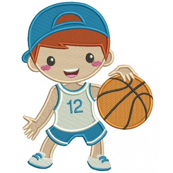 Little Boy Playing Basketball Filled Machine Embroidery Design Digitized Pattern