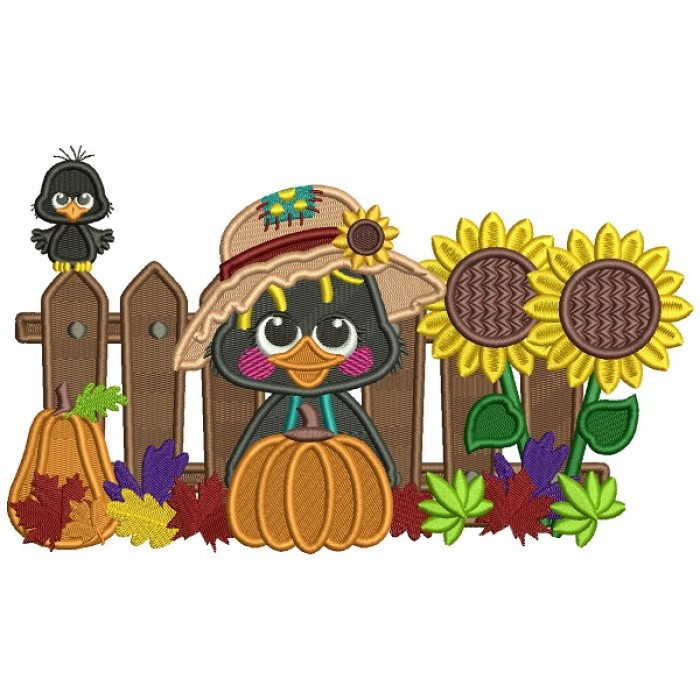 Little Crow With Pumpkin Sitting Next To a Wooden Fence Fall Filled Thanksgiving Machine Embroidery Design Digitized Pattern