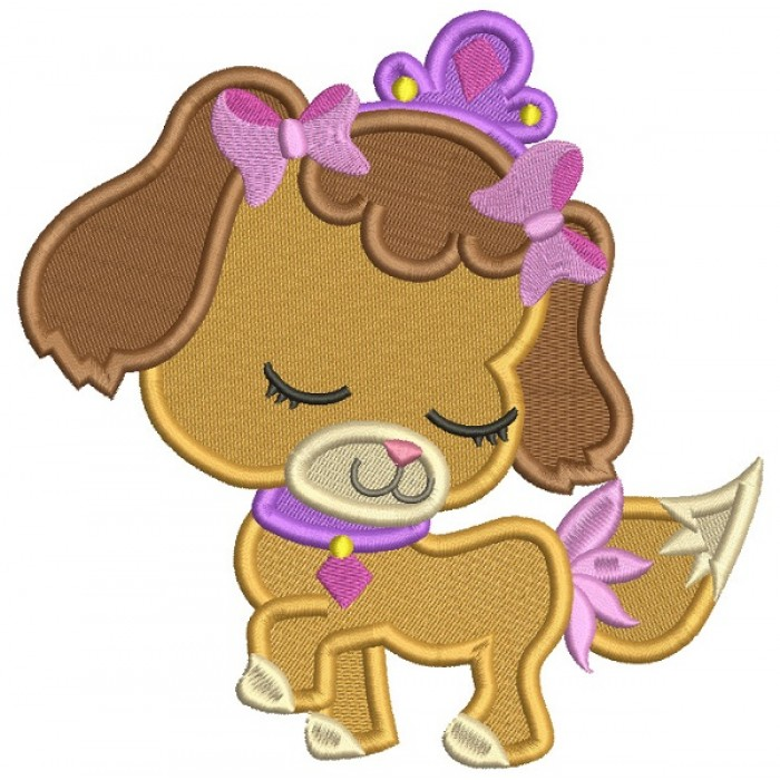 Little Dog Princess Filled Machine Embroidery Design Digitized Pattern