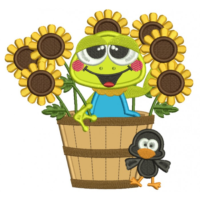Little Frog Inside Of Basket With Sunflower Fall Applique Machine Embroidery Design Digitized Pattern