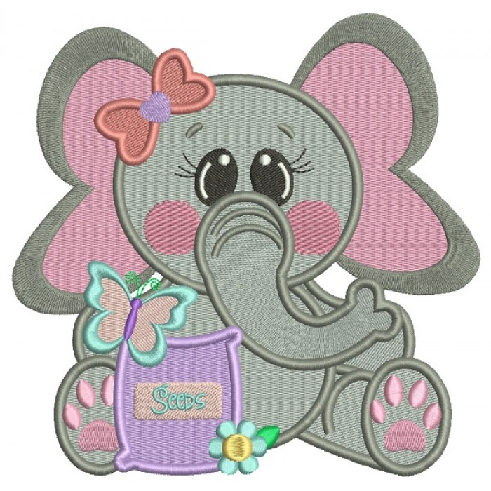 Little Girl Elephant Holding Flower Seeds Filled Machine Embroidery Design Digitized Pattern