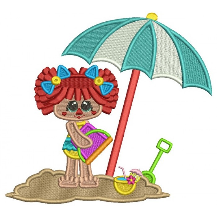 Little Girl On The Beach Playing WIth The Sand Summer Filled Machine Embroidery Design Digitized Pattern