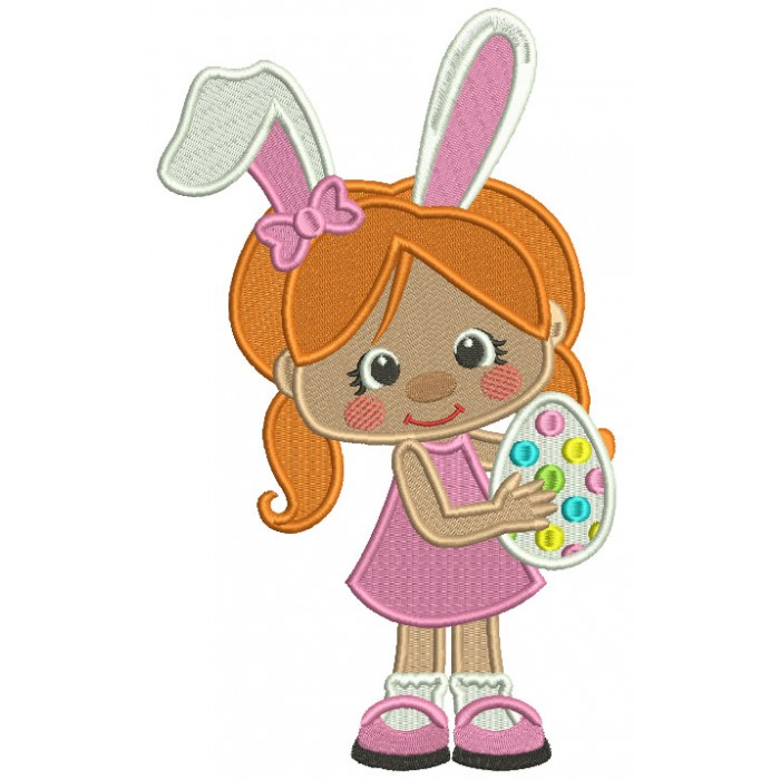 Little Girl With Bunny Ears Holding Easter Egg Filled Machine Embroidery Design Digitized Pattern