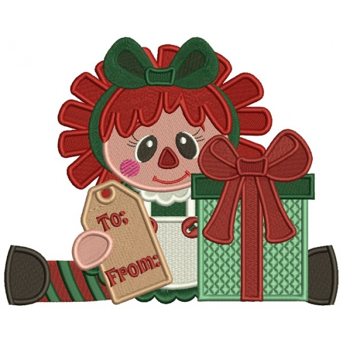 Little Girl With Presents To From Christmas Filled Machine Embroidery Design Digitized Pattern