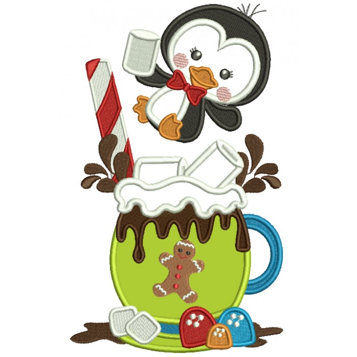 Little Penguin Drinking Hot Cocoa Christmas Applique Machine Embroidery Design Digitized Pattern