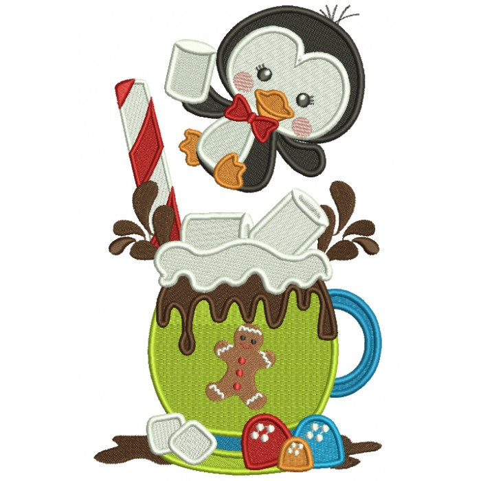 Little Penguin Drinking Hot Cocoa Christmas Filled Machine Embroidery Design Digitized Pattern