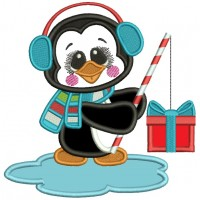 Little Penguin Fishing For Presents Christmas Applique Machine Embroidery Design Digitized Pattern