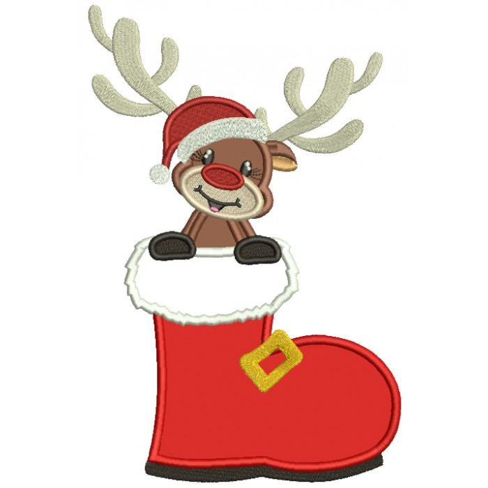 Little Reindeer Sitting Inside Santa's Boot Christmas Applique Machine Embroidery Design Digitized Pattern