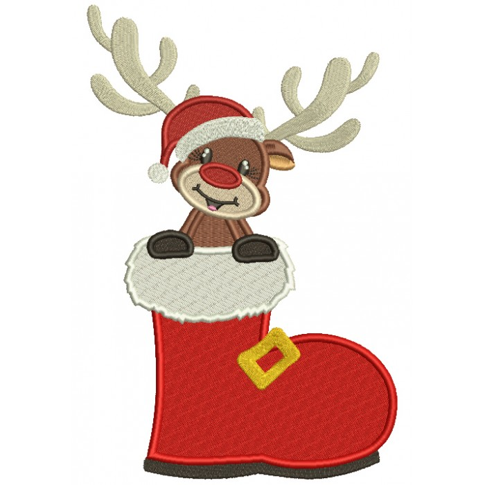 Little Reindeer Sitting Inside Santa's Boot Christmas Filled Machine Embroidery Design Digitized Pattern