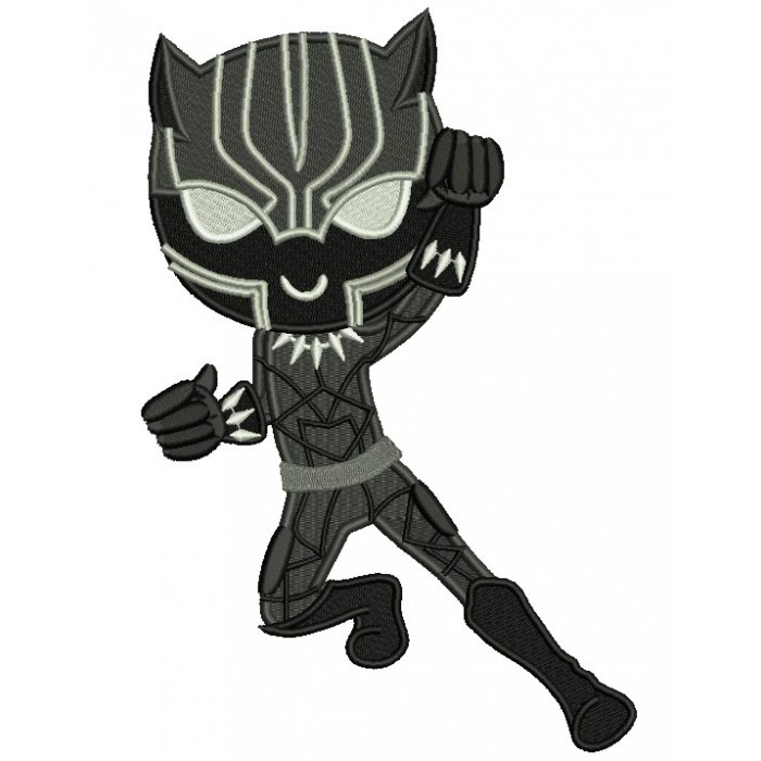 Looks Like Black Panther Superhero Filled Machine Embroidery Design Digitized Pattern