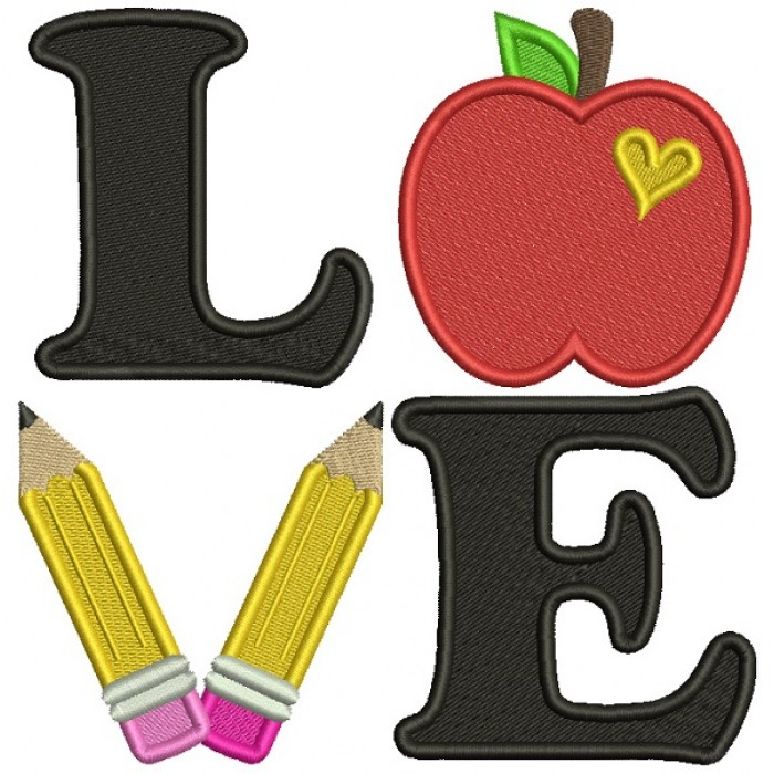 Love Apple And Pencils School Filled Machine Embroidery Design Digitized Pattern