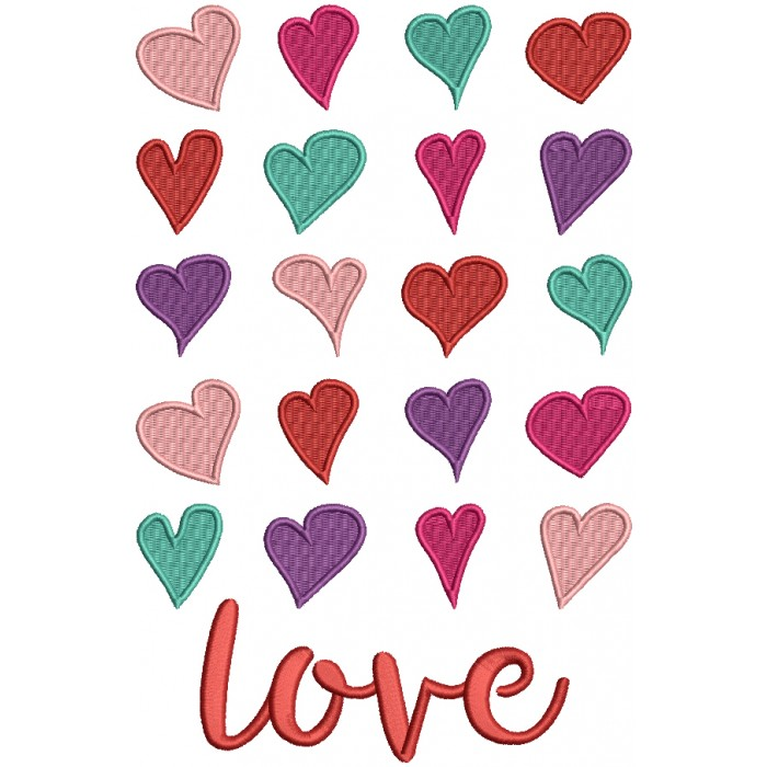 Love Endless Hearts Filled Machine Embroidery Design Digitized Pattern