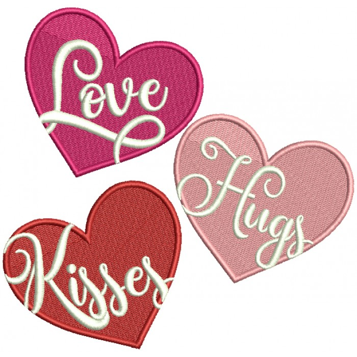 Love Hugs Kisses Hearts Filled Machine Embroidery Design Digitized Pattern