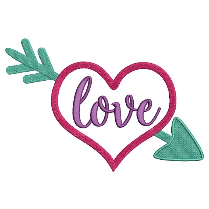Love Pierced Heart With an Arrow Filled Machine Embroidery Design Digitized Pattern