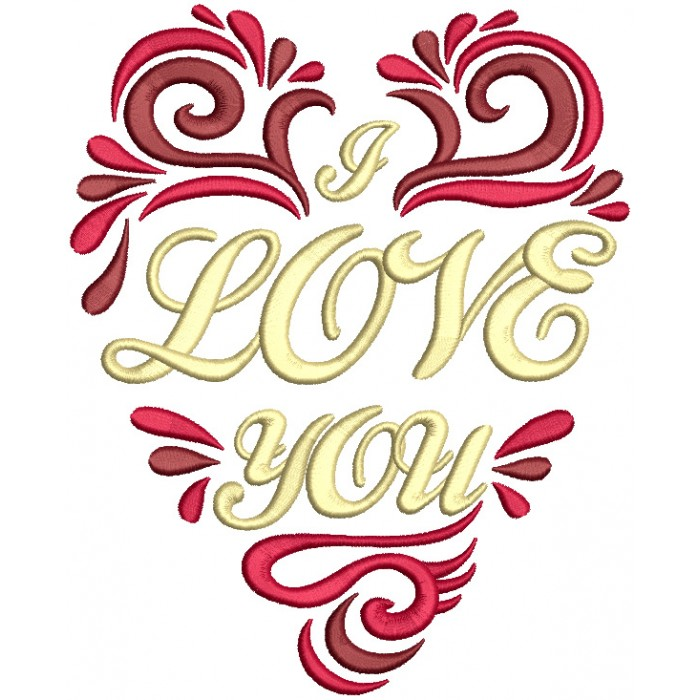 Love You Ornate Heart Filled Machine Embroidery Design Digitized Pattern