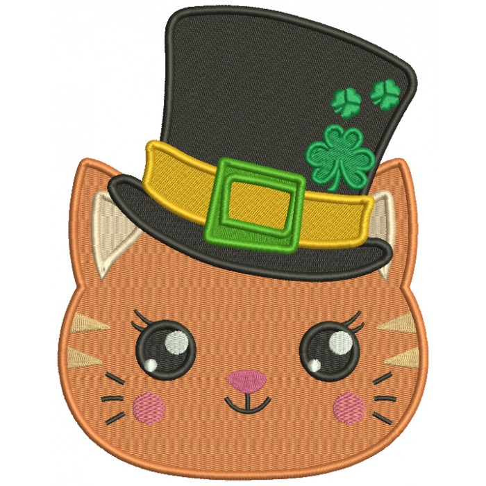Lucky Cat Wearing Big Hat St. Patrick's Day Filled Machine Embroidery Design Digitized Pattern